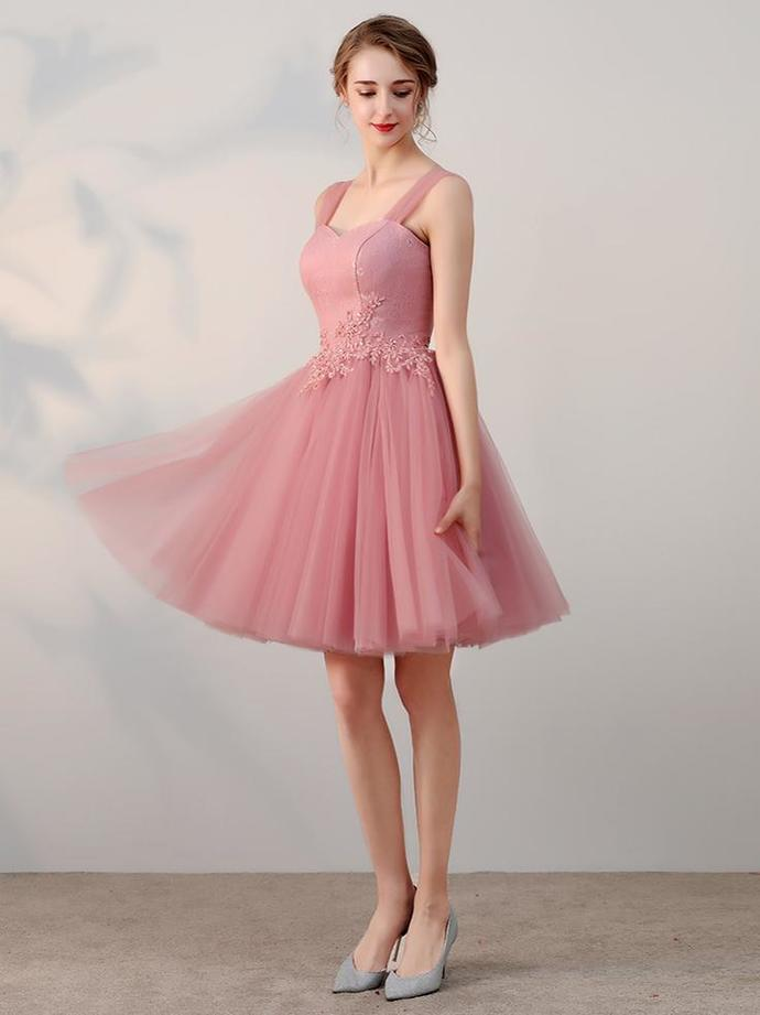 4b9c69593c77 Chic A-line Pink Tulle Lace Applique Straps Short Prom Dress Simple  Homecoming