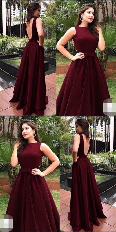 Popular Burgundy Open Back Long Prom Dresses,Sleeveless A-Line Party Evening