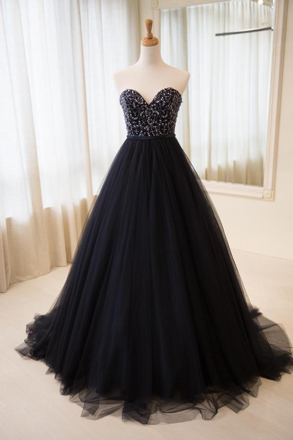 Sweetheart Neck Long Tulle Prom Dress Beaded Black Dress