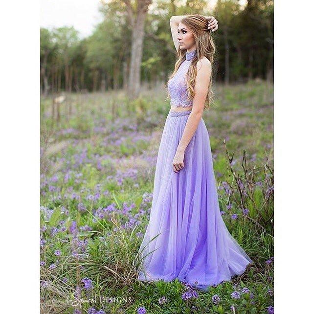 2 Pieces Purple Tulle Prom Dresses Halter Neck Lace Women Party Dresses