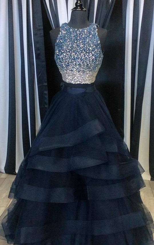Scoop neck Tulle Prom Dresses, Shining Beaded Women party Dresses, Charming