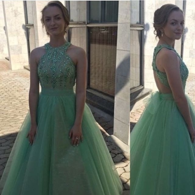 Halter Neck A-line tulle Prom Dresses Crystals Women Dresses