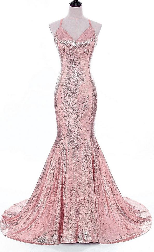 Pink Sequin Lace Prom Dress Floor Length Halter Neck Women Evening Dresses