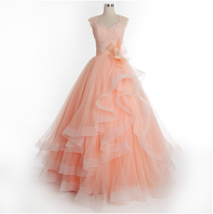 Orange Yellow tulle Prom Dresses Long Tiered Appliques Party Dresses decorated