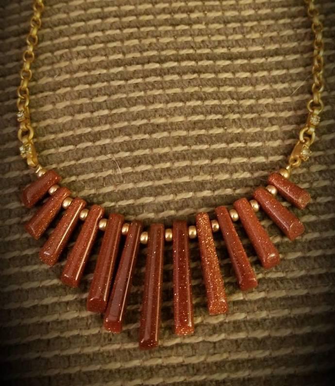 Goldstone Dagger Necklace