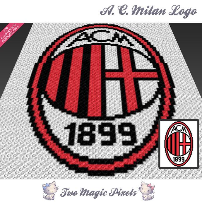 AC Milan Logo crochet blanket pattern; c2c, cross stitch graph; pdf download; no