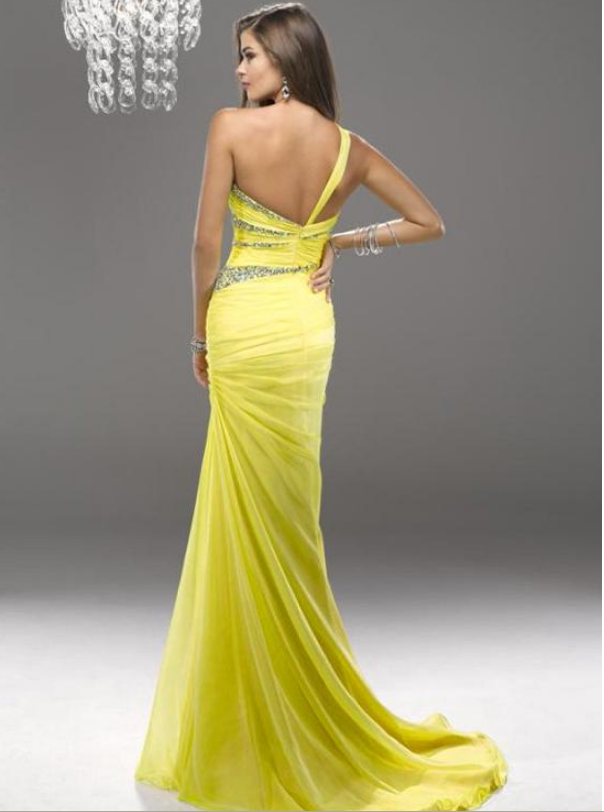 Graceful Chiffon & Stretch Satin One Shoulder Neckline Floor-length Evening