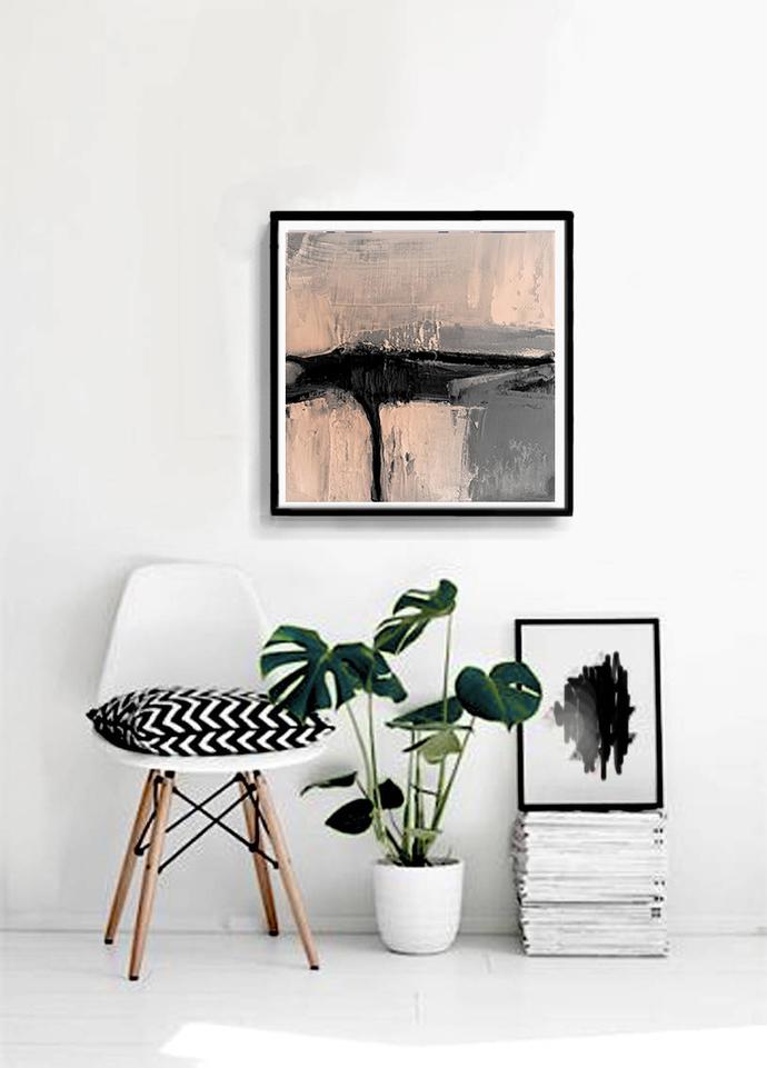 Print abstract, peach and gray, black contemporary art, modern art, scandinavian