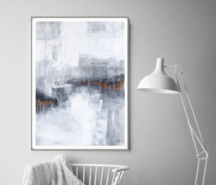Abstract Landscape ,Grey & White Abstract Wall Art, Grey Stripes, Minimalist