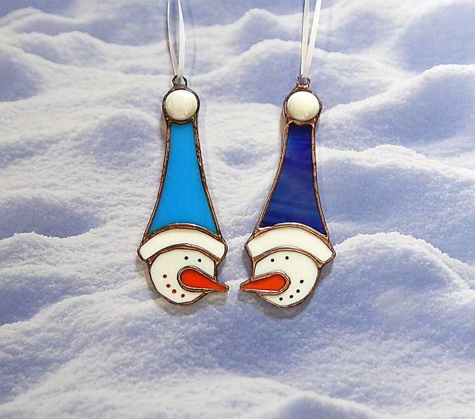 Stained Glass, Snowman Ornament, Winter Decor, Snowman Couple, Mr. and Mrs.