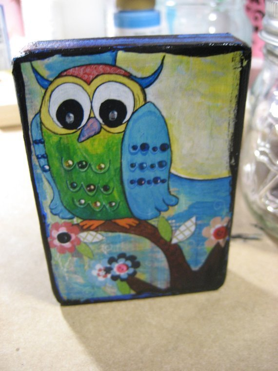 Whimsical mixed media Owl miniature 3.5x2.5 art ACEO PRINT Mounted On Wood Block