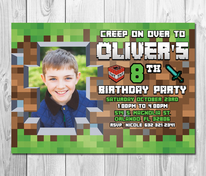 minecraft birthday invitation with picture by zanaprintable on zibbet
