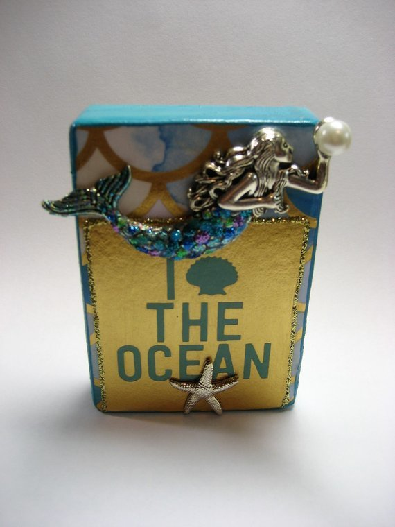 Mixed Media Collage Art Miniature Mermaid inspiration art on wood block I Love