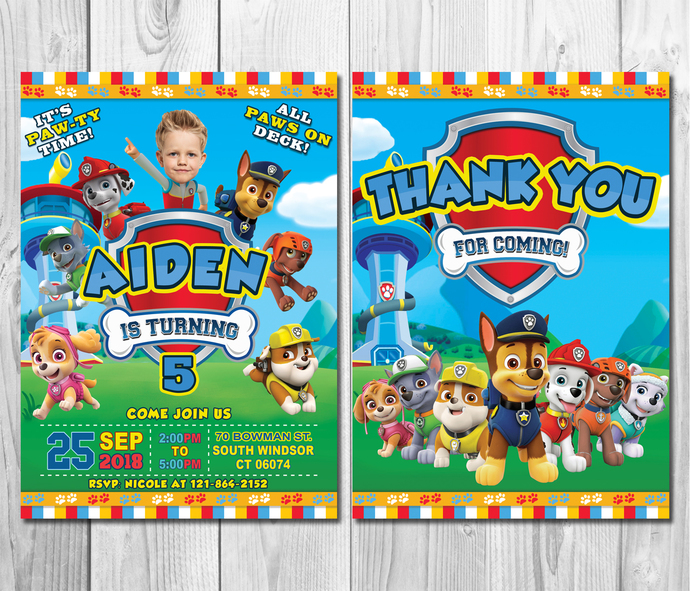 Paw Patrol Birthday Invitation With Custom Face Thank You Card