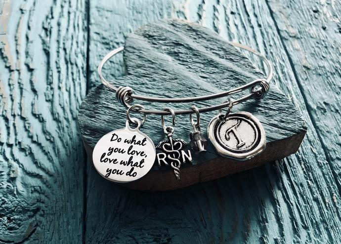 Do what you love, love what you do, Silver Bracelet, RN,Registered Nurse, Nurse