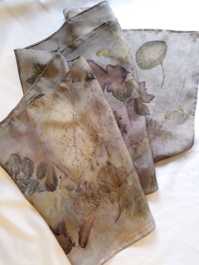 Naturally Dyed Silk Scarf 14x72 Hand Dyed with Natural Materials