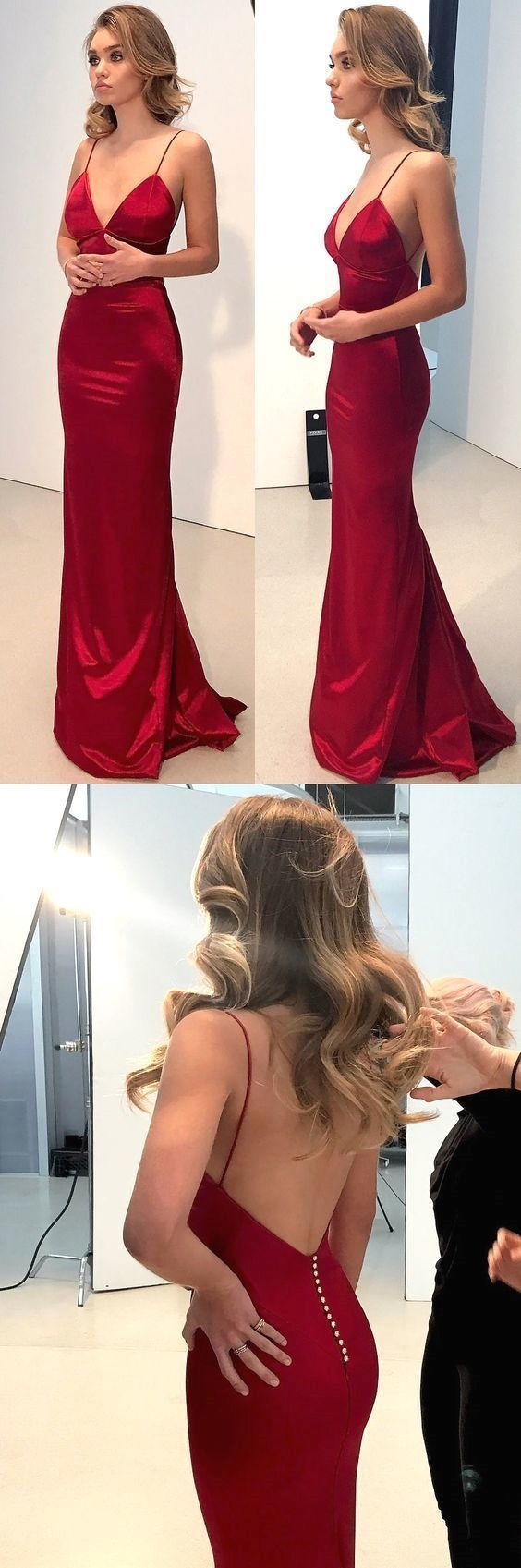 Sexy Straps Backless Red Prom Dress, Sexy Mermaid Prom Dresses, V Neck Party