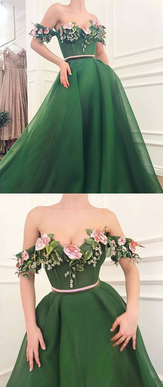 Sexy Off Shoulder Tulle Prom Dress, Dark Green Prom Dresses, Long Party Dress