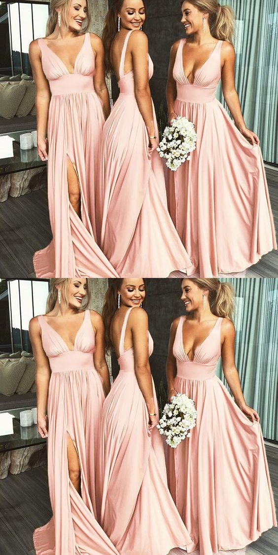 f090592c4ade Blush Pink Bridesmaid Dresses Long Women Sexy Slit V Neck Women Wedding  Party