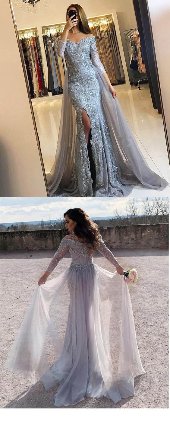 3f20453579 Elegant Lace Mermaid Prom Dresses Full Sleeves Sexy Slit Long Evening Gown  With