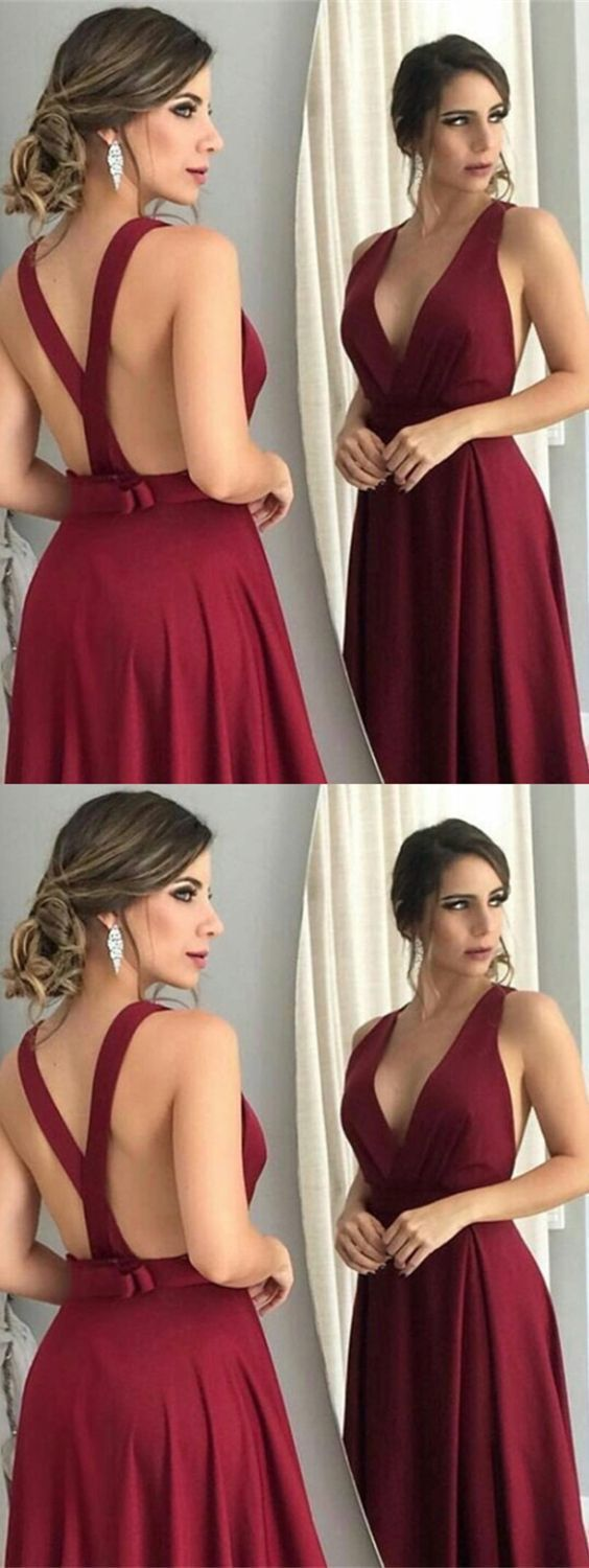 5512ed44a199 A-Line Deep V-Neck Sweep Train Cross Straps Burgundy Satin Prom Dress with  Bowknot