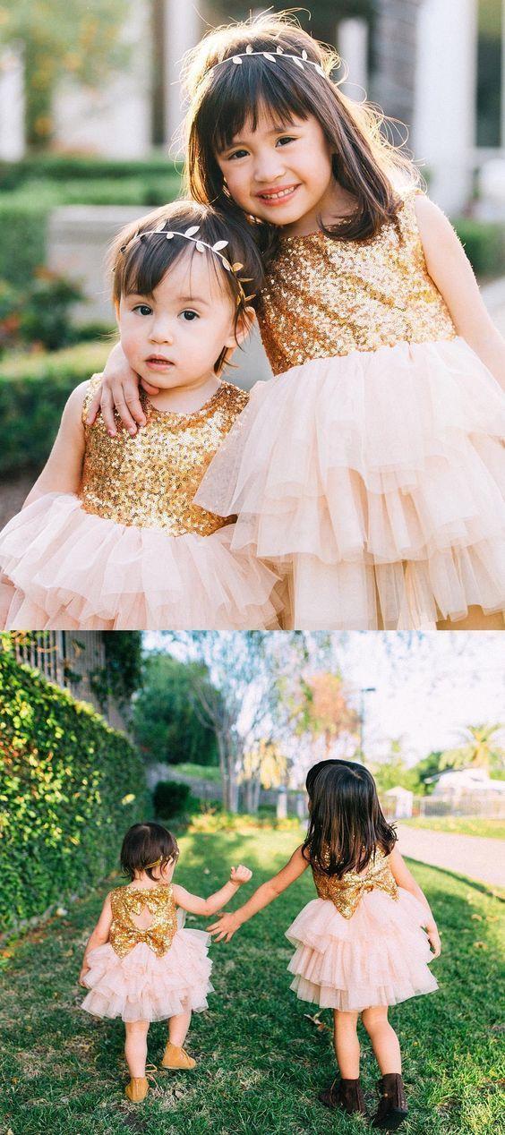 Princess Gold Sequins Top Pink Flower Girl Dresses