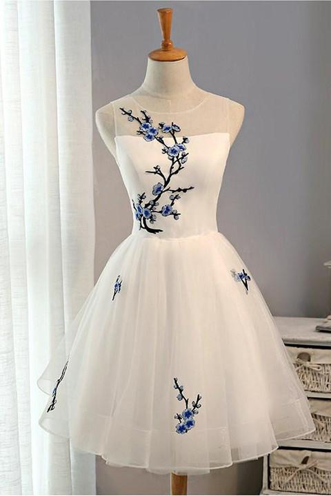 NEW ARRIVAL EMBROIDERY FLOWERS CHEAP SHORT HOMECOMING DRESS PROM DRESSES