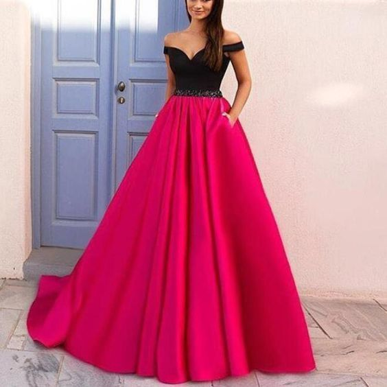 6a39eac54ba0 Elegant Off the Shoulder Black and Hot Pink Prom Dresses,Girls Senior Prom