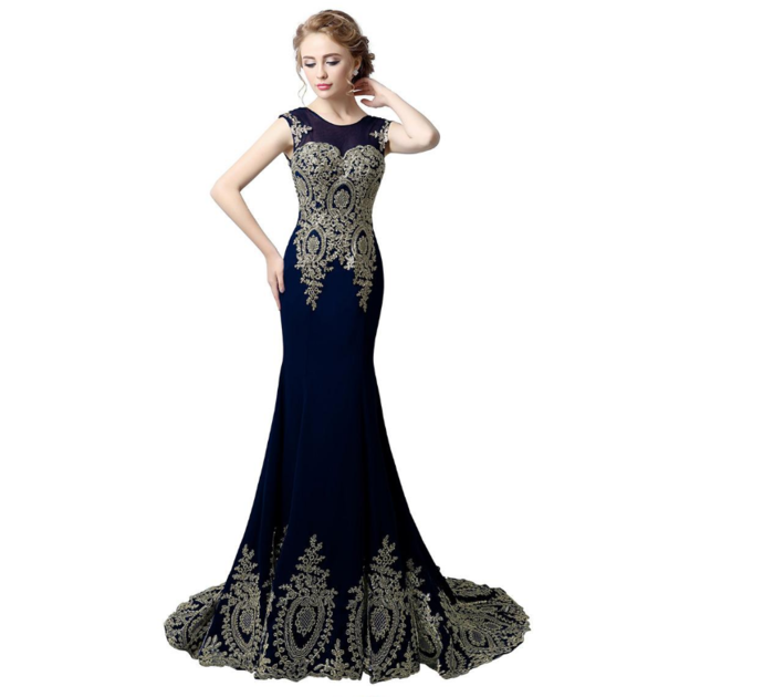 Mermaid Evening Dresses With Lace Appliques Stock Glamorous Chiffon Jewel
