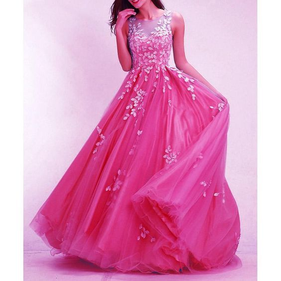 04b8efaba22 Hot Pink Prom Dresses Long 2019 Senior Prom Gown with Ivory Lace A Line Full