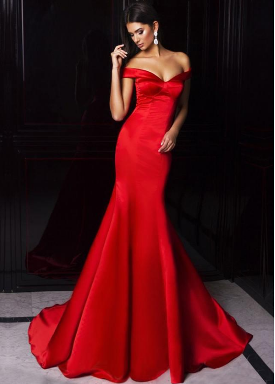 Delicate Satin Off-the-shoulder Neckline Mermaid Evening Dresses