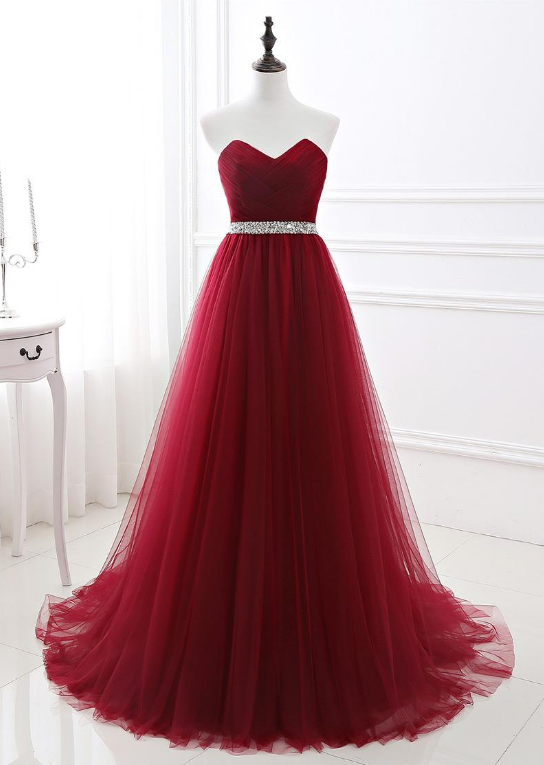 In Stock Alluring Tulle Sweetheart Neckline Floor-length A-line Prom Dresses