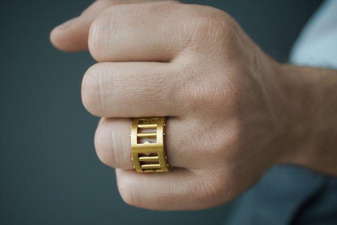 Matte Brushed Stainless Steel Chunky Unisex Statement  Original  Ring, Black