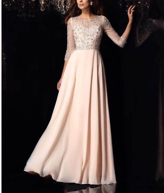 Chic Tulle & Chiffon Bateau Neckline Floor-length A-line Evening Dresses with