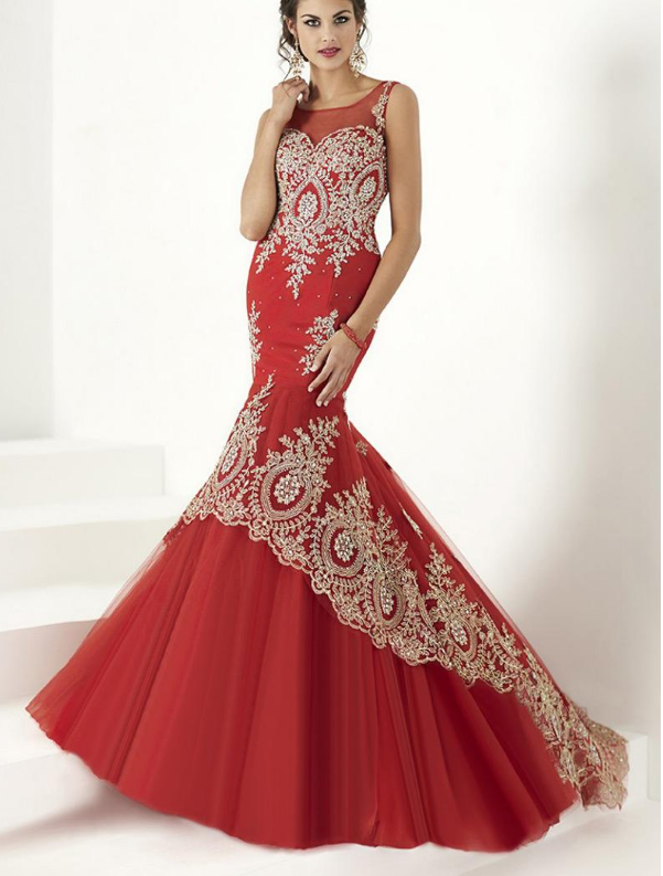Gorgeous Tulle & Satin Scoop Neckline Mermaid Evening Dresses With Beaded Lace
