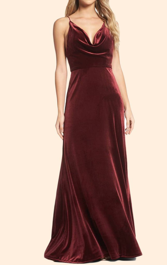 Halter Cowl Neck Valvet Long Formal Evening Gown Simple Burgundy Prom Dress