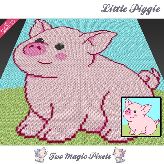 Little Piggie crochet blanket pattern; c2c, cross stitch graph; pdf download; no