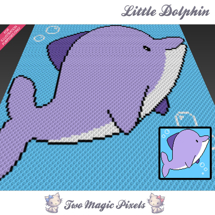 Little Dolphin crochet blanket pattern; c2c, cross stitch graph; pdf download;