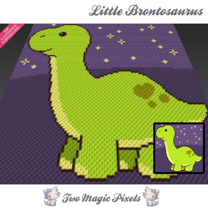Little Brontosaurus crochet blanket pattern; c2c, cross stitch graph; pdf