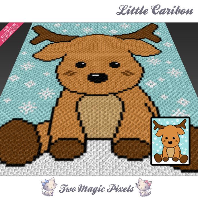 Little Caribou crochet blanket pattern; c2c, cross stitch graph; pdf download;