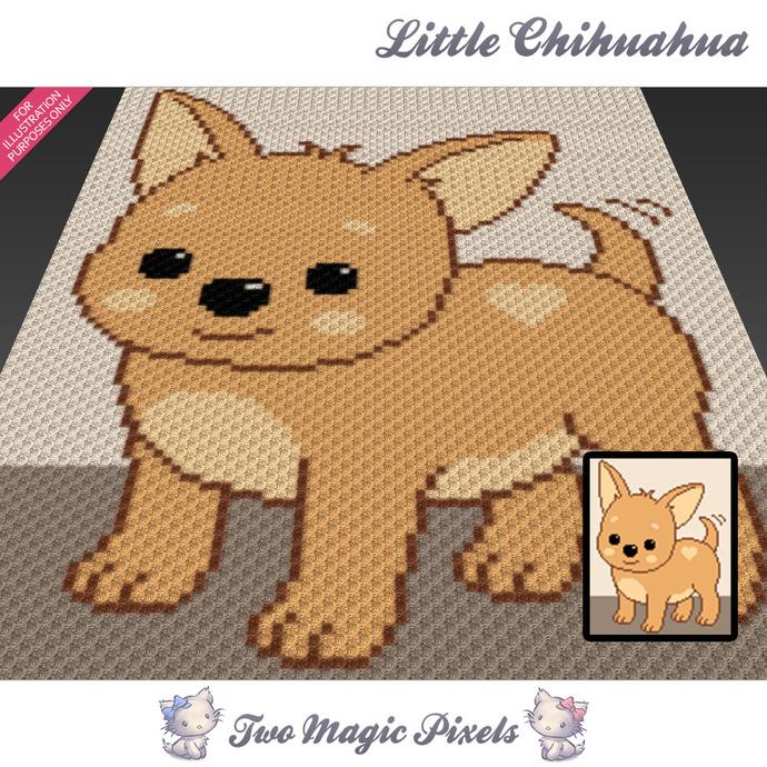 Little Chihuahua crochet blanket pattern; c2c, cross stitch graph; pdf download;