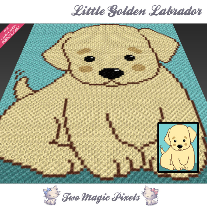Little Golden Labrador crochet blanket pattern; c2c, cross stitch graph; pdf