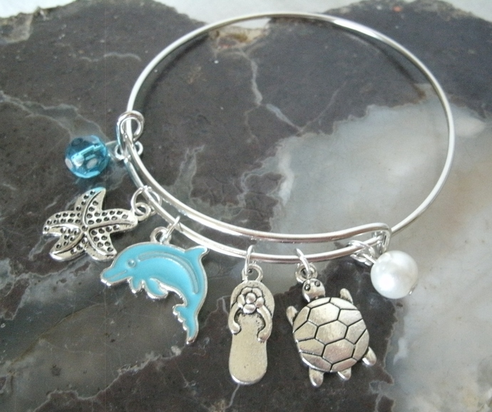 Beach Bracelet bangle boho bohemian hippie turtle ocean dolphin handmade jewelry