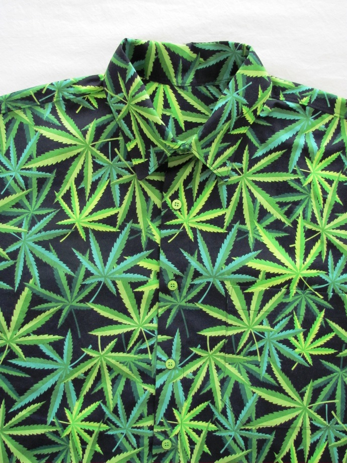 420 Men's Shirt Short Sleeve. Super Green Herbal MJ Weed All Cotton Print.