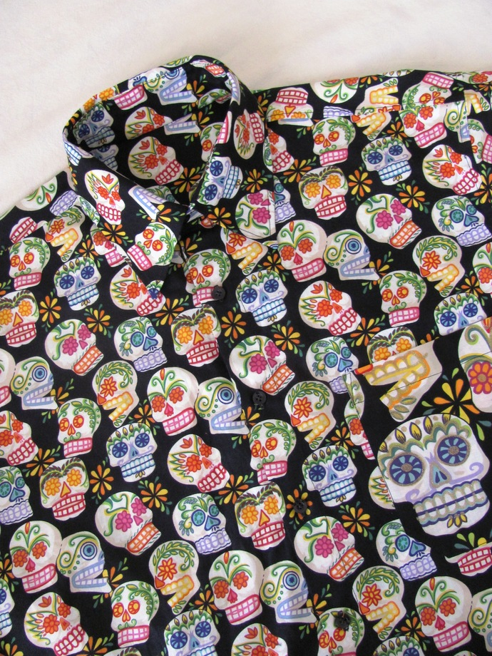 Black Sugar Skull Day of the Dead Men's Shirt Short Sleeve. All Cotton Print.