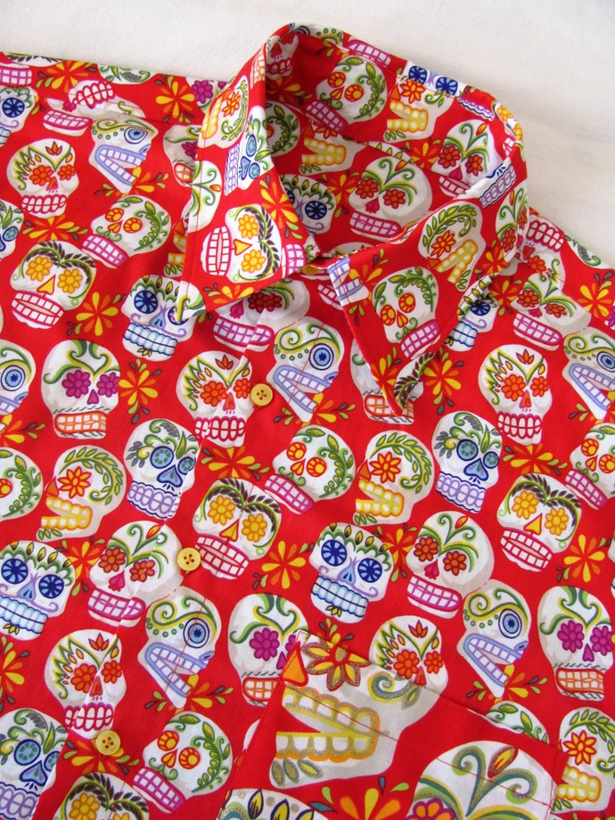 Red Sugar Skull Day of the Dead Men's Shirt Short Sleeve. All Cotton Print.