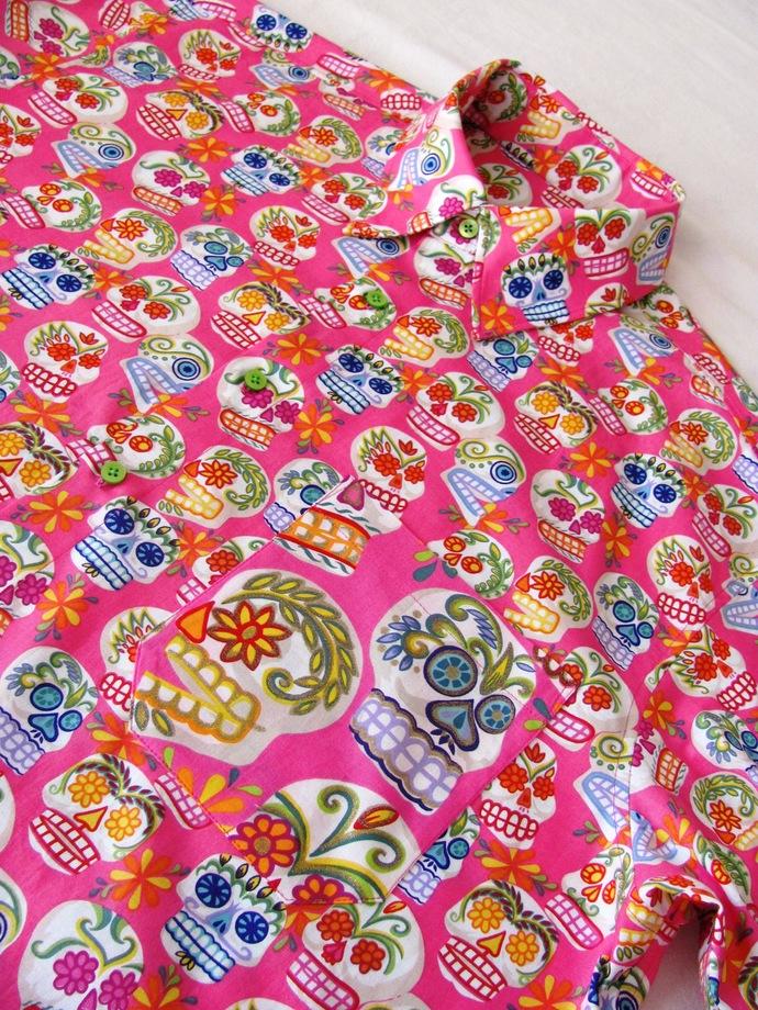 Pink Sugar Skull Day of the Dead Men's Shirt Short Sleeve. All Cotton Print.