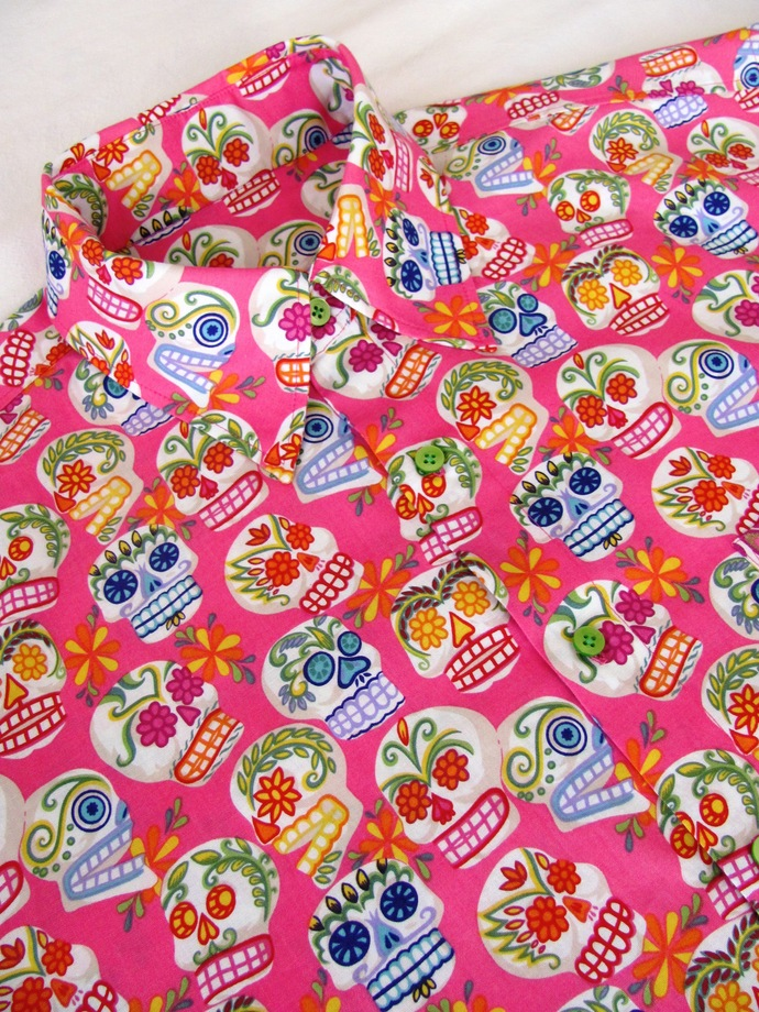 Pink Sugar Skull Day of the Dead Men's Shirt Short Sleeve. All Cotton Print.