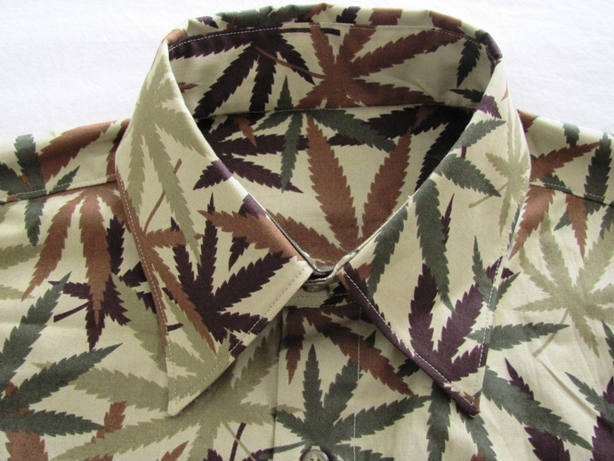420 Men's Shirt Short Sleeve. Camouflage Herbal MJ Weed All Cotton Print.