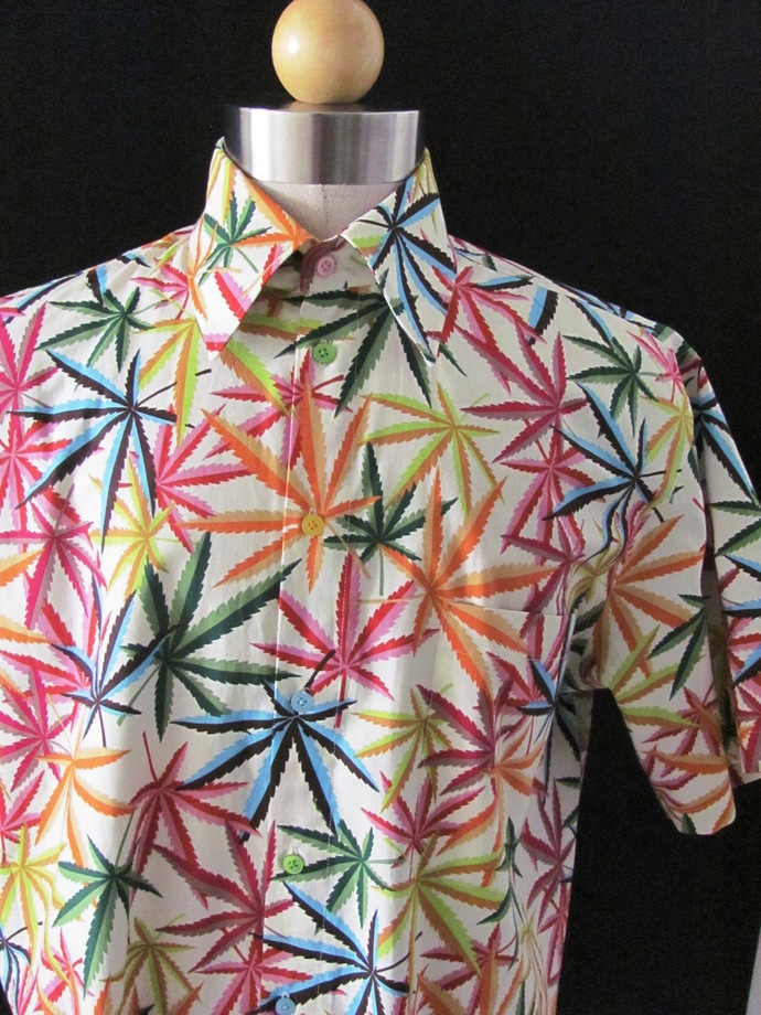 420 Multi Color Men's Shirt Short Sleeve. Herbal MJ Weed All Cotton Print.